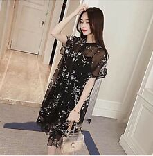Korea women's casual loose black chiffon two-pieces dress size S/M