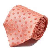 New $230 ISAIA NAPOLI 7-Fold Coral Pink Jacquard Pattern Silk Tie