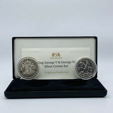 More details for king george v & george vi 1935 & 1937 .500 silver crown coin set boxed & coa
