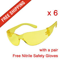 6 x Amber Safety Glasses Eye Protection with a pair Nitrile Safety Gloves Free