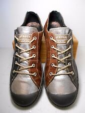 PATAUGAS Brown Suede Silver Metallic Leather Lace Up Sneakers US 8.5 - 9 EU 39