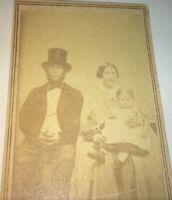 Antique American Civil War Era Victorian Fashion Family! Tax Stamp CDV Photo! US