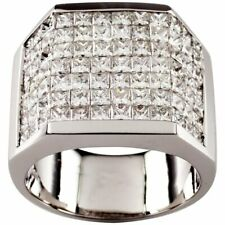 925 Solid Silver Men's Plaque Ring 14.10 Carat Invisible Setting Cubic Zirconia