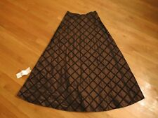 NEW CHETTA B Brown Silk Taffeta Maxi Skirt Size 10 NWT