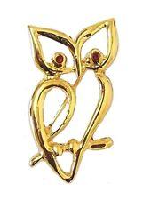 Gold Vintage Owl Bird Brooch Pin Red Crystal Diamante Dress Gift Women Ladies UK