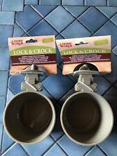 LOT of 2 Living World Hagen Lock & Crock Cage Food Water Bowl Dish 20 oz!