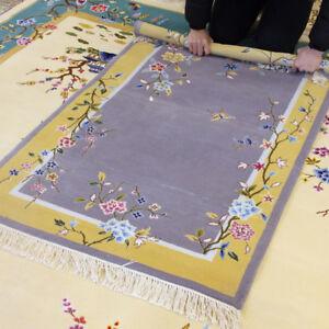 YILONG 3'x4.7' Purple Hand Woven Wool Carpet Chinese Art Deco Classic Area Rug