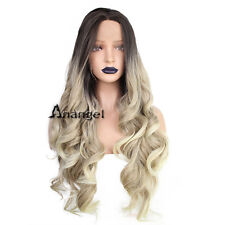 Anogol Long WavyCurly Middle Part Synthetic Lace Front Wig Ombre Blonde Wigs