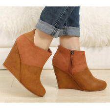 WOMAN SHOES DESIGNER TAN BROWN HIGH WEDGE HEEL ANKLE BOOTS 7
