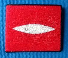 100% auténtico Stingray peces Piel Rojo Cuero Hombre Cartera Doble Pliegue STING