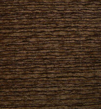 Drapery Upholstery Fabric Textured Chenille Rippling Horizontal Stripes - Cocoa