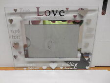 True Love Glass Mirror Picture Frame Hearts Holding Hands Hugs Kisses Holds 4X6