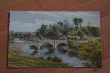 The Castle & Dinham Bridge Ludlow Shropshire Painting by A.R. Quinton Postcard