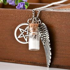 Supernatural Protection Necklace Angel Wing Pentagram Salt Burn Bottle Gift
