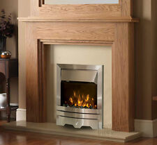 ELECTRIC OAK WOOD SILVER CREAM MARBLE STONE WALL MODERN LED FIRE FIREPLACE SUITE