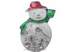 Christmas Brooch Snowman Pin Silver Trim with Diamond Ornamets