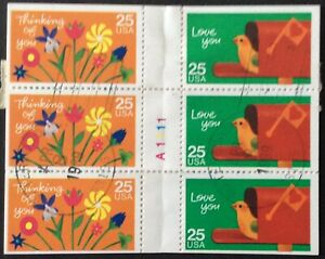 1988 25c Special Occasions Booklet of 12, Scott #2395-98, Cancelled, VF