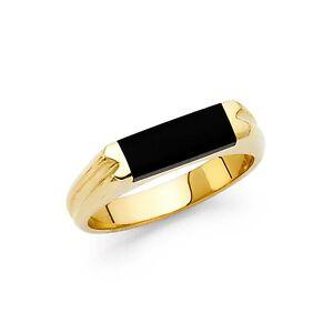 Onyx Ring Solid 14k Yellow Gold Band Mens Black Diamond Cut Stylish Square Fancy