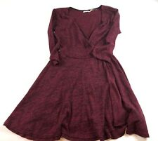 WOMENS Kimchi Blue (Urban Outfitters) Maroon Faux Wrap Dress SIZE M