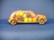 Vintige Clear Glass Tin Toy Car Tin Wheel Four Door Streamliner Candy Container