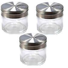 3x Gewürzstreuer Glas mit Edelstahldeckel 3 verschiedene Öffnungsgrößen Küche