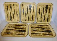 Lot Of 11 Vintage Mid Century Harlequin Black & Gold Metal TV Lap Trays