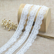 5Yards White Elastic Lace Trim Flower Sewing Fabric DIY Crafts Supplies 2.8cm
