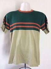 Vtg 70s 80s Jc Penney Striped Color Block Ringer T-Shirt Beige Green M/L 50/50