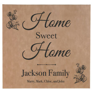 """Personalized Squared """"Home Sweet Home"""" Canvas Wall Art - Engraved Family Name"""