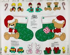 Vtg Precious Moments Christmas Stocking and Appliques Cut and Sew Fabric Panel
