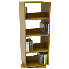 4 Tier Rotating CD / DVD  Storage Shelves  Oak MS20005