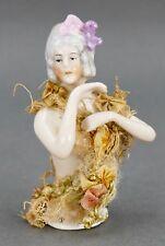 Fine Antique German Porcelain Miniature Half Doll Sewing Pincushion Figurine