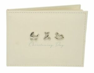 BAMBINO CHRISTENING MESSAGE GUEST BOOK ALBUM WITH RAISED ICONS GIFT PRESENT