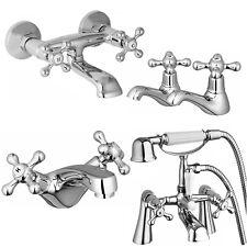 Enki Twin Hot Cold Basin Taps Bathroom Period Victorian Plumbing Chrome Wind