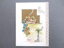 Vintage CHRISTMAS Card Cottage Scene Doves & Bird Bath Unwritten 1930s OLD
