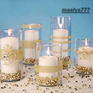 RUBAN STRASS doré décoration mariage soirée Noël chemin de table 1m x 4cm 8rangs