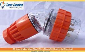 50 Amp Angled Male Plug 5 Pin 3 Phase 50A Industrial Electrical