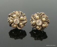 alte Strass & faux Perlen Ohrschrauben Ohrringe, Boucles d'oreilles, Earrings