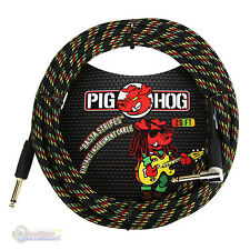 "Pig Hog PCH20RAR 1/4"" Straight to 1/4"" Right-Angle Rasta Instrument Cable"