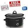 Crock-Pot 7 Quart Manual Slow Cooker, Black, Dishwasher-Safe, Stoneware and Lid.