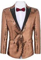 COOFANDY Men's Shiny Sequins Suit Jacket Blazer One Button, Rose Gold, Size 3.0