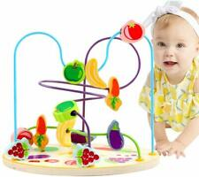 Wooden Fruit Beads Maze Coaster Classic Baby Toddler Educational Building Toy