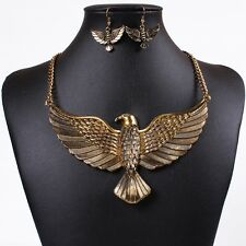 Golden Punk rock carved eagle army dangle earrings necklace jewelry set women