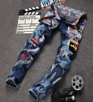 2018 Mens boys punk hole patch denim jeans pants Slim denim Jeans pants trousers