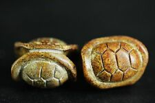 Chinese hongshan culture jade hand-carved Turtle shell amulet beads