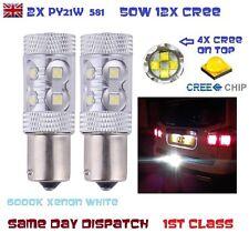 2x PY21W Bau15s 7507 1156PY 581 50w CREE BULB Xenon White 6000k Car REVERSE STOP