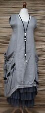 LAGENLOOK*LINEN BEAUTIFUL QUIRKY LARGE POCKETS LONG DRESS**DARK GREY**Size 48-50