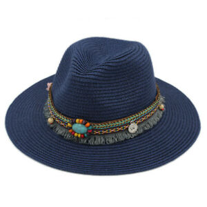 Straw Sunhat Womens Beach Panama Wide Brim Fedora Hat Summer Bohemia Tassel Band