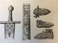 Estampe empire occident accessoires Charlemagne milieu XIXeme siècle