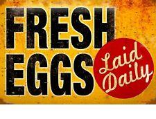 "TIN SIGN ""Fresh Eggs Laid Daily"" Food Decorative Wall Decor"